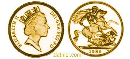 Zlatnik Sovereign Elizabeth II s krunom