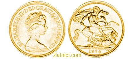 Zlatnik Sovereign Elizabeth II s tijarom