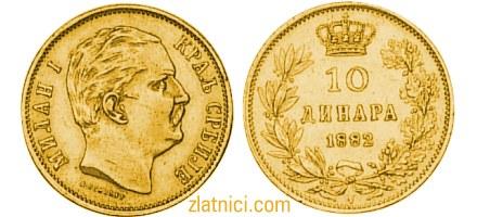 Zlatnik 10 dinara kralj Milan Obrenović