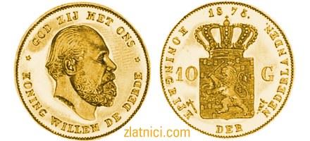 Zlatnik 10 gulden Willem De Derde, kralj nizozemski