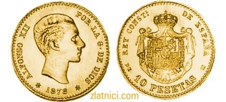Zlatnik 10 pesetas Alfonso XII