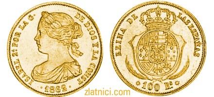 Zlatnik 100 reales Isabel, Španjolska numizmatika, kovanica