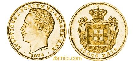 Zlatnik 10000 reis Ludovicus I, Portugal