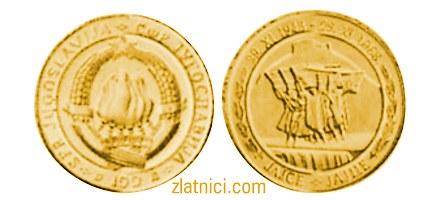 Zlatnik 100 dinara Jajce, SFRJ, Godišnjica AVNOJ-a
