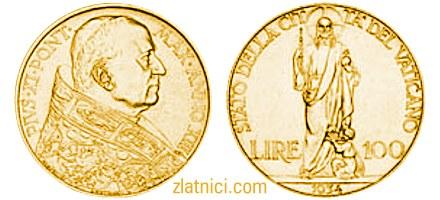 zlatnik 100 lire Pivs XI, papa, Vatikan, zlatna kovanica