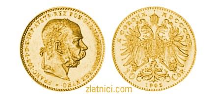 Zlatnik 10 coronae Franc Ios, car Franjo Josip I