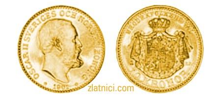 Zlatnik 10 kronor Oscar II Sveriges Konung, Švedska