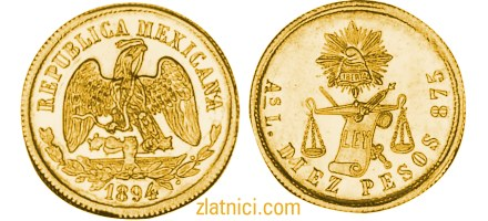 Zlatnik 10 pesos Meksiko, zlatna kovanica