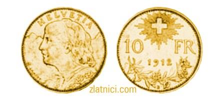 Zlatnik 10 fr Helvetia Vreneli, Švicarska, numizmatika, zlatna kovanica