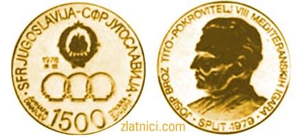 Zlatnik 1500 dinara Mediteranske igre Split, SFRJ