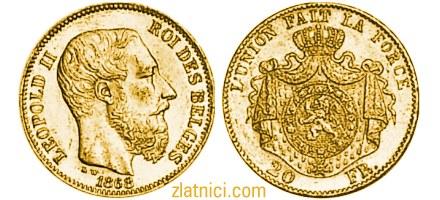 Zlatnik 20 franc Leopold II, Belgija, numizmatika, zlatna kovanica