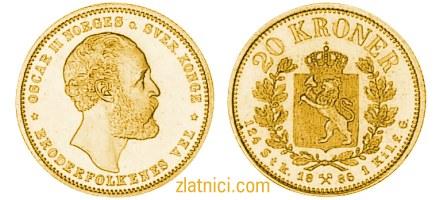 Zlatnik 20 kroner Oscar II, Norges o. Sver. Konge