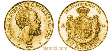 Zlatnik 20 kronor Oscar II Sveriges Konung