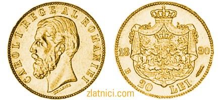 Zlatnik 20 lei Carol I, Rumunjska, numizmatika, zlatna kovanica