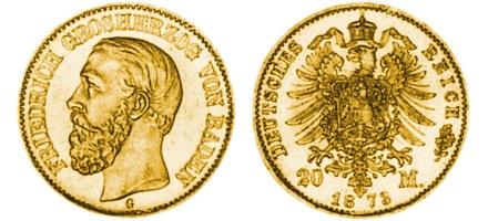 Zlatnik 20 mark Friedrich Grosherzog von Baden