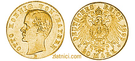Zlatnik 20 mark Otto Konnig Von Bayern, Njemačka