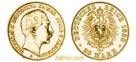 Zlatnik 20 mark Wilhelm II Deutscher Kaiser, Prussia, numizmatika, zlatna kovanica