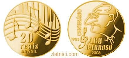 Zlatnik 20 reais Ary Barroso, Brazil