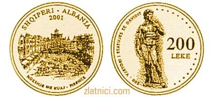 Prigodni zlatnik 200 leke David Shqiperi Albanija numizmatika