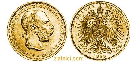 Numizmatika, zlatnik 20 coronae Franc Ios, lik cara Franje Josipa, Austrija