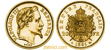 Zlatnik 20 francs Napoleon III, imperatorski grb