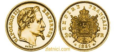 Zlatnik 20 francs Napoleon III, imperatorski grb, Francuska