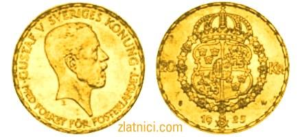 Zlatnik 20 kronor Gustaf V Sveriges Konung, Švedska