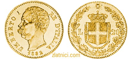 Zlatnik 20 lira Umberto I, Re D'Italia
