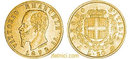 Zlatnik 20 lira Vittorio Emanuele II, Regno D'Italia