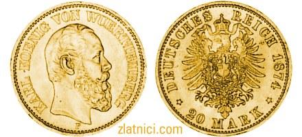 Zlatnik 20 mark Karl Koenig Von Wuerttemberg