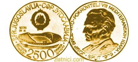Zlatnik 2500 dinara Mediteranske igre Split, SFRJ