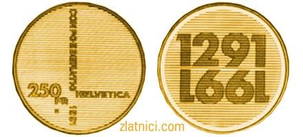 Zlatnik 250 fr 700 godina Švicarske konfederacije
