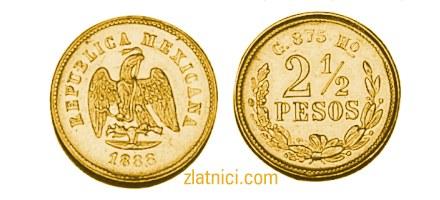 Zlatnik 2 i pol pesos Meksiko, zlatna kovanica