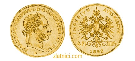 Zlatnik 4 Fl 10 Fr Franciscvs Iosephvs