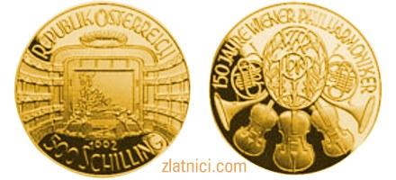 Numizmatika zlatnik 150 jahre Wiener Philharmoniker, zlatna kovanica