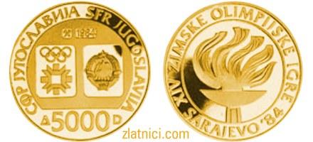 Numizmatika, zlatnik, kovanica 5000 dinara, 14. zimske olimpijske igre, Sarajevo, baklja, SFRJ