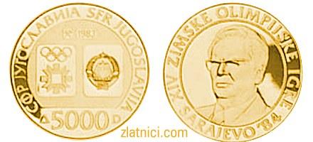 Zlatnik 5000 dinara Olimpijske igre Sarajevo, SFRJ