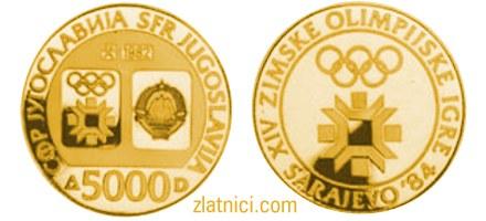 Numizmatika, zlatnik, kovanica 5000 dinara, 14. zimske olimpijske igre Sarajevo, SFRJ