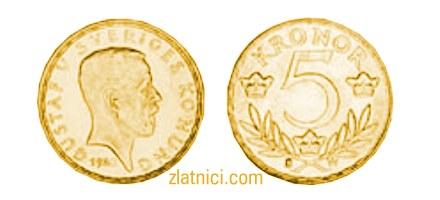 Zlatnik 5 kronor Gustaf V Sveriges Konung, Švedska