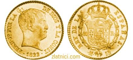 Zlatnik 80 reales Ferdinand VII, Španjolska numizmatika, kovanica