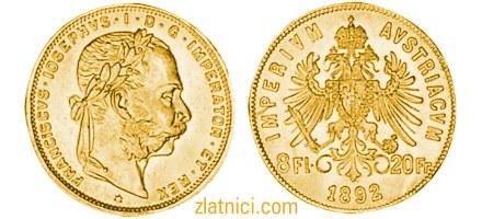 Zlatnik 8 Fl 20 Fr Franciscvs Iosephvs