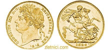 Zlatnik sovereign Georgius IIII Britanniar Rex