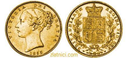Numizmatika, zlatnik Sovereign mlada Victoria s kraljevskim grbom, Velika Britanija