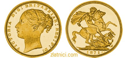 Numizmatika, zlatnik sovereign mlada Victoria, St. George, Velika Britanija