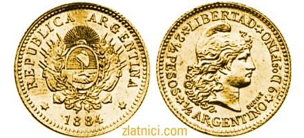 Zlatnik 1/2 argentino Libertad, Argentina