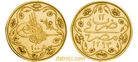 Zlatnik 100 kurus Abdul Hamid II, cvjetni uzorak, Egipat