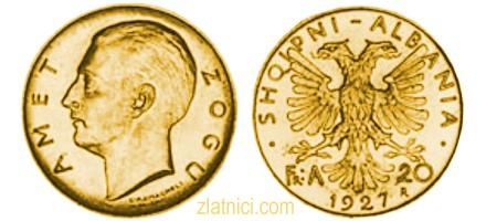 Zlatnik 20 franga ari Amet Zogu, Albanija