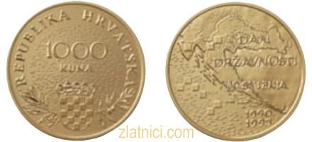 Zlatnik 1000 kuna Dan državnosti, Hrvatska
