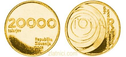 Zlatnik 20000 tolarjev Tolar, 10 let, 10 godina, Slovenija, zlatna kovanica