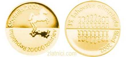Zlatnik 20000 tolarjev Šahovska olimpiada Bled, Slovenija